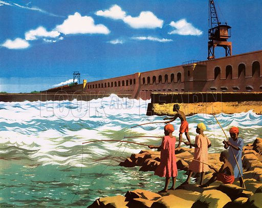 Macmillan's History Picture. The Sennar dam on the blue Nile. Original poster for sale for £50 including VAT and postage within the UK.
