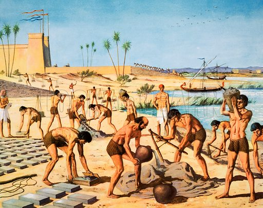 Macmillan's History Picture. Israelites making bricks for Egyptian task-masters. Original poster for sale for £50 including VAT and postage within the UK.