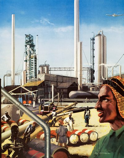 Macmillan's History pictures. An oil refinery in Arabia. Original poster for sale for £50 including VAT and postage within the UK.