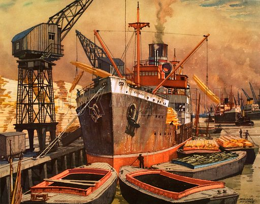 Macmillan's History pictures. Unloading timber at a London dock. Original poster for sale for £50 including VAT and postage within the UK.