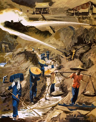 A tin mine in Malaya. Original poster for sale for £50 including VAT and postage within the UK.