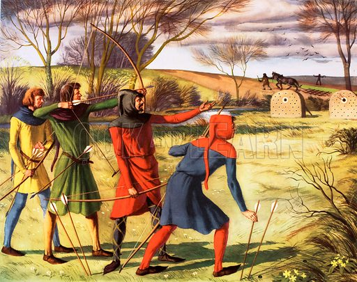 Macmillan's History pictures. Shooting with the long-bow, 14th C Original poster for sale for £50 including VAT and postage within the UK.