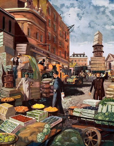 Macmillan's History pictures. Covent Garden market, London. Original poster for sale for £50 including VAT and postage within the UK.