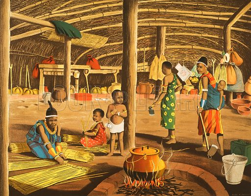 Inside a Zulu Home. Original poster for sale for £50 including VAT and postage within the UK.