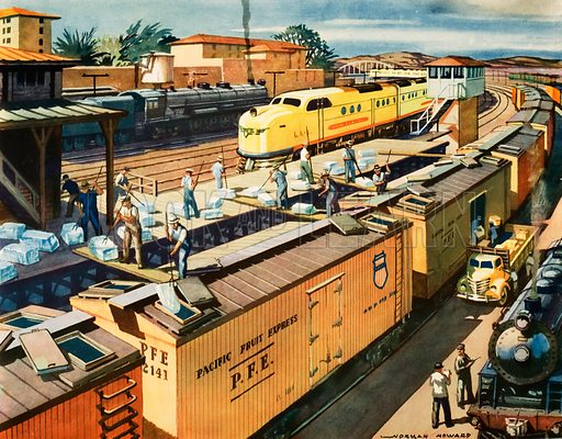 Macmillan's History pictures. Cooling a trans continental fruit train, USA. Original poster for sale for £50 including VAT and postage within the UK.