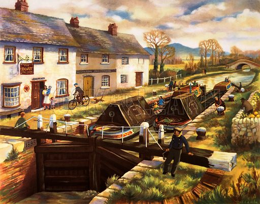 Macmillan's History pictures. Canal barges in a lock. Original poster for sale for £50 including VAT and postage within the UK.