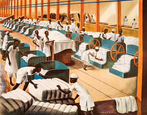 Inside cotton ginnery. Macmillan poster. Original poster for sale for £50 including VAT and postage within the UK.