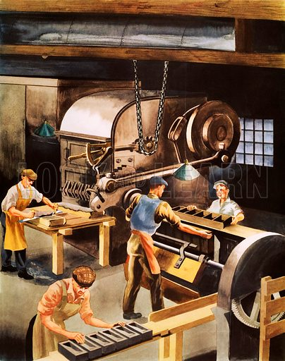 Making bricks. Macmillan poster. Original poster for sale for £50 including VAT and postage within the UK.