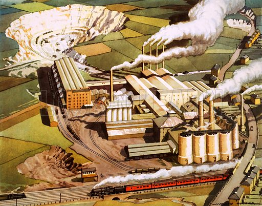 Looking down on cement works. Macmillan poster. Original poster for sale for £50 including VAT and postage within the UK.