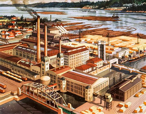 A wood working mill in Finland. Macmillan poster. Original poster for sale for £50 including VAT and postage within the UK.