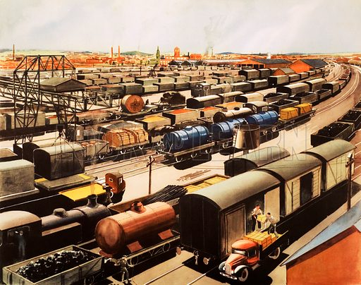 Goods traffic at a busy railway station. Macmillan poster. Original poster for sale for £50 including VAT and postage within the UK.
