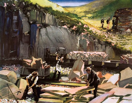 At Welsh slate quarry. Macmillan poster. Original poster for sale for £50 including VAT and postage within the UK.