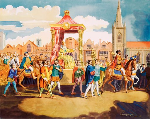 Queen Elizabeth going on procession. Macmillan poster. Original poster for sale for £50 including VAT and postage within the UK.