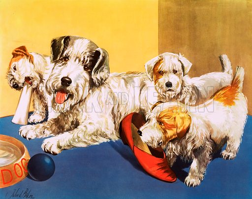 A dog and her puppies. Macmillan poster. Original poster for sale for £50 including VAT and postage within the UK.
