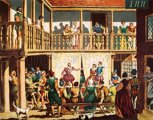 A play in an inn yard, Tudor times. Macmillan poster. Original poster for sale for £50 including VAT and postage within the UK.