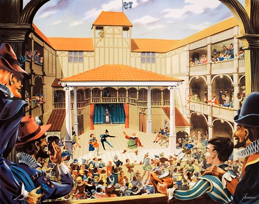 An Elizabethan theatre. Macmillan poster. Original poster for sale for £50 including VAT and postage within the UK.