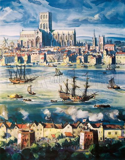 St Paul's cathedral, the Bear Garden and the Globe Theatre, Tudor times. Macmillan poster. Original poster for sale for £50 including VAT and postage within the UK.
