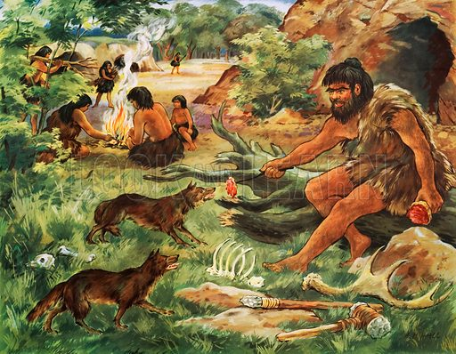A cave man making friends with a young wolf. Macmillan poster. Original poster for sale for £50 including VAT and postage within the UK.