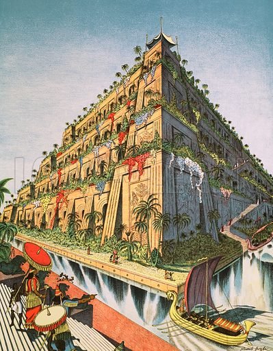 The hanging gardens of Babylon. Macmillan poster. Original poster for sale for £50 including VAT and postage within the UK.