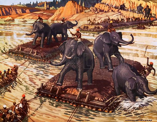 Hannibal's elephants crossing the Rhone. Macmillan poster. Original poster for sale for £50 including VAT and postage within the UK.