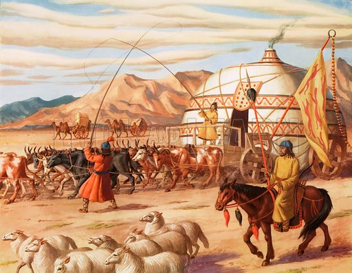 A hut wagon of the Mongols. Macmillan poster. Original poster for sale for £50 including VAT and postage within the UK.