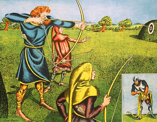 Long bows and cross bows. Macmillan poster. Original poster for sale for £50 including VAT and postage within the UK.