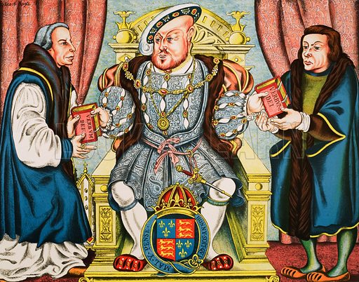 Henry VIII presenting Bibles. Macmillan poster. Original poster for sale for £50 including VAT and postage within the UK.
