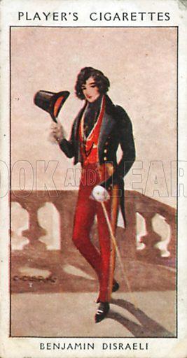 Benjamin Disraeli. Illustration for John Player Dandies cigarette card series, early 20th century.