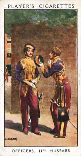 Officers, 11th Hussars. Illustration for John Player Dandies cigarette card series, early 20th century.