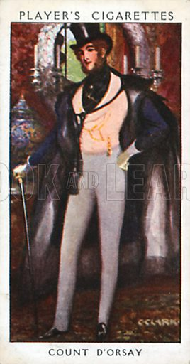 Count D'Orsay. Illustration for John Player Dandies cigarette card series, early 20th century.