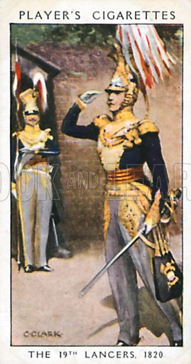 The 19th Lancers, 1820. Illustration for John Player Dandies cigarette card series, early 20th century.