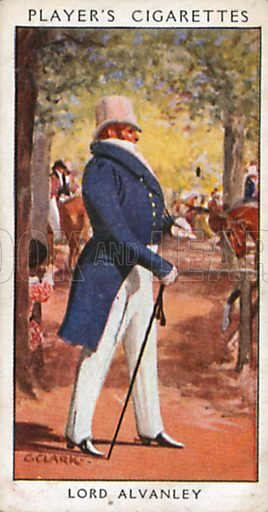 Lord Alvanley. Illustration for John Player Dandies cigarette card series, early 20th century.