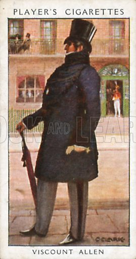 Viscount Allen. Illustration for John Player Dandies cigarette card series, early 20th century.