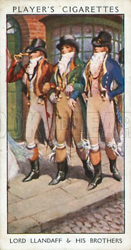 Lord Llandaff & his Brothers. Illustration for John Player Dandies cigarette card series, early 20th century.