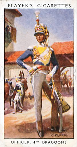 Officer, 4th Dragoons. Illustration for John Player Dandies cigarette card series, early 20th century.