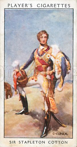 Sir Stapleton Cotton. Illustration for John Player Dandies cigarette card series, early 20th century.