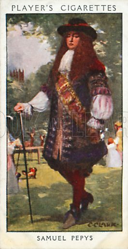 Samuel Pepys. Illustration for John Player Dandies cigarette card series, early 20th century.