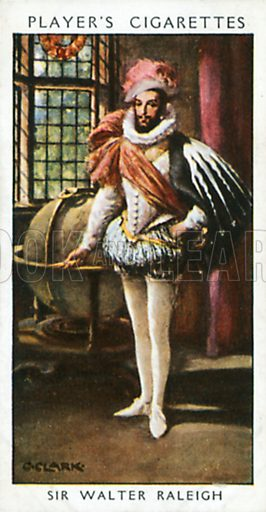 Sir Walter Raleigh. Illustration for John Player Dandies cigarette card series, early 20th century.