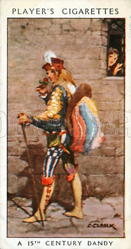 A 15th Century Dandy. Illustration for John Player Dandies cigarette card series, early 20th century.
