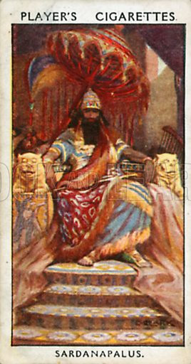 Sardanapalus. Illustration for John Player Dandies cigarette card series, early 20th century.