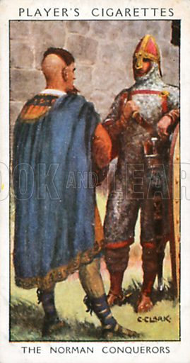The Norman Conquerors. Illustration for John Player Dandies cigarette card series, early 20th century.