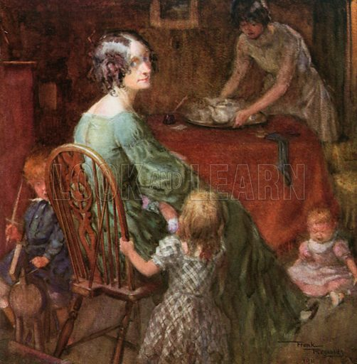 Mrs. Micawber and Family. Illustration for David Copperfield by Charles Dickens (Westminster Press, c 1910).
