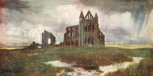 Saint Hilda's Abbey, Whitby. Illustration for The Mighty Army by W M Letts (Wells Gardner, 1912).