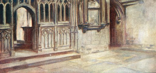 The Scene of the Martyrdom, Canterbury Cathedral. Illustration for The Mighty Army by W M Letts (Wells Gardner, 1912).