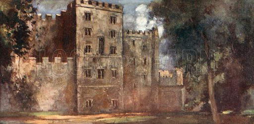 Lollard's Tower, Lambeth Palace. Illustration for The Mighty Army by W M Letts (Wells Gardner, 1912).