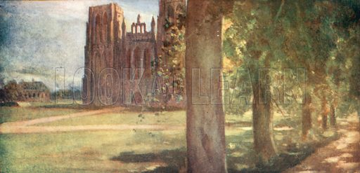Wells Cathedral. Illustration for The Mighty Army by W M Letts (Wells Gardner, 1912).