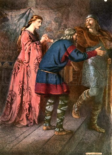 Laertes saying farewell to Ophelia. Illustration for Shakespeare's Tragedy of Hamlet (Hodder & Stoughton, c 1920).