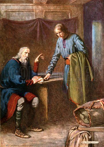 Polonius advises Reynaldo. Illustration for Shakespeare's Tragedy of Hamlet (Hodder & Stoughton, c 1920).