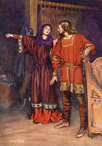 The Queen telling the King that Hamlet has killed Polonius. Illustration for Shakespeare's Tragedy of Hamlet (Hodder & Stoughton, c 1920).