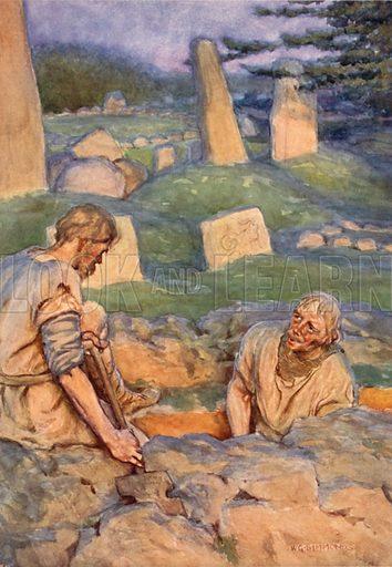 Grave Diggers. Illustration for Shakespeare's Tragedy of Hamlet (Hodder & Stoughton, c 1920).